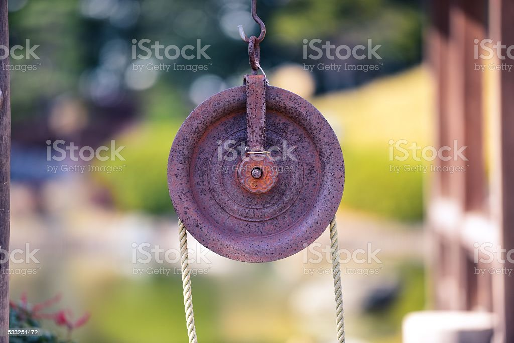 japanese old pulley stock photo