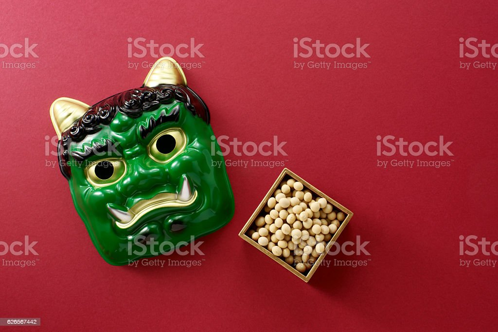 Japanese oni mask stock photo