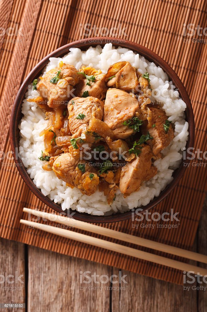 Japanese oyakodon and rice in a bowl. vertical top view stock photo