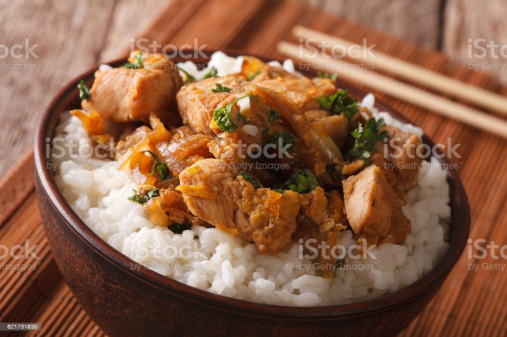 Japanese oyakodon with rice in a bowl close up. horizontal stock photo