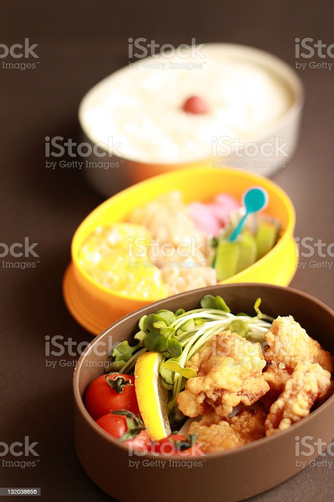 Japanese Packed Lunch, Fried chicken royalty-free stock photo