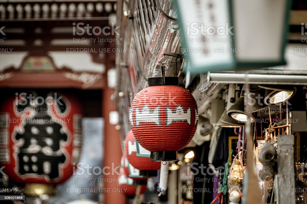 Japanese Paper Lanterns at the Famous Sensoji Temple  - Tokyo stock photo