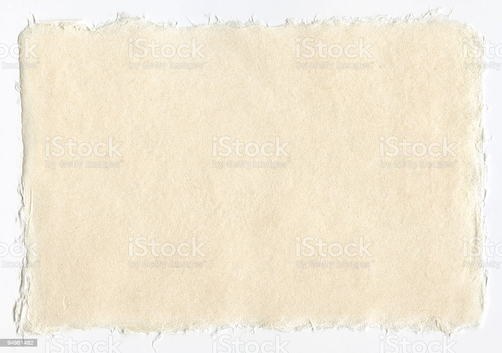 Japanese paper with frayed edges isolated stock photo