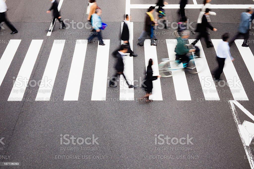 Japanese Pedestrians Tokyo Crosswalk royalty-free stock photo