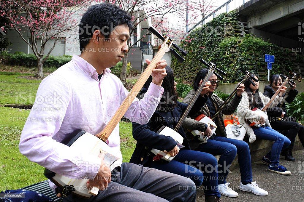 Japanese people play on Shamisen stock photo