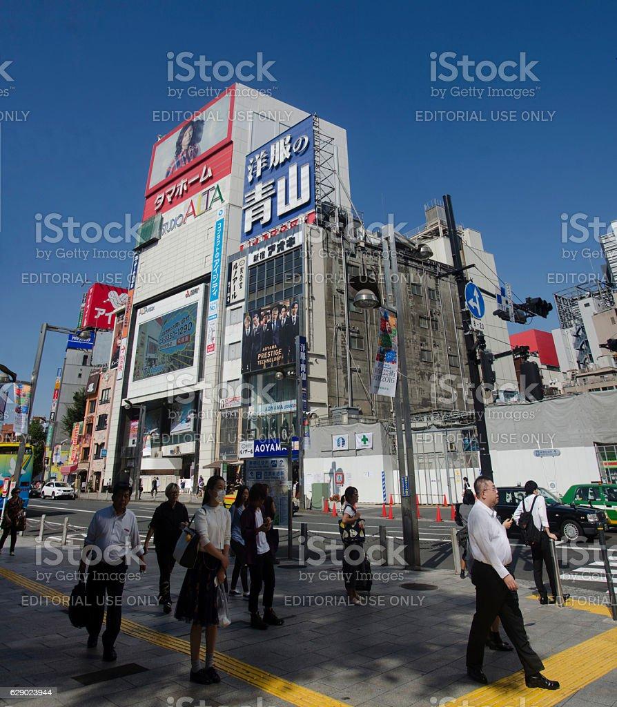 Japanese people walking crosswalk traffic road stock photo