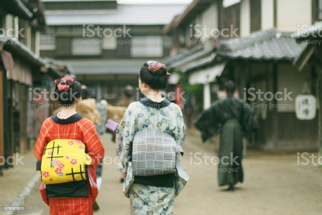 Japanese People Walking in Edo Period stock photo