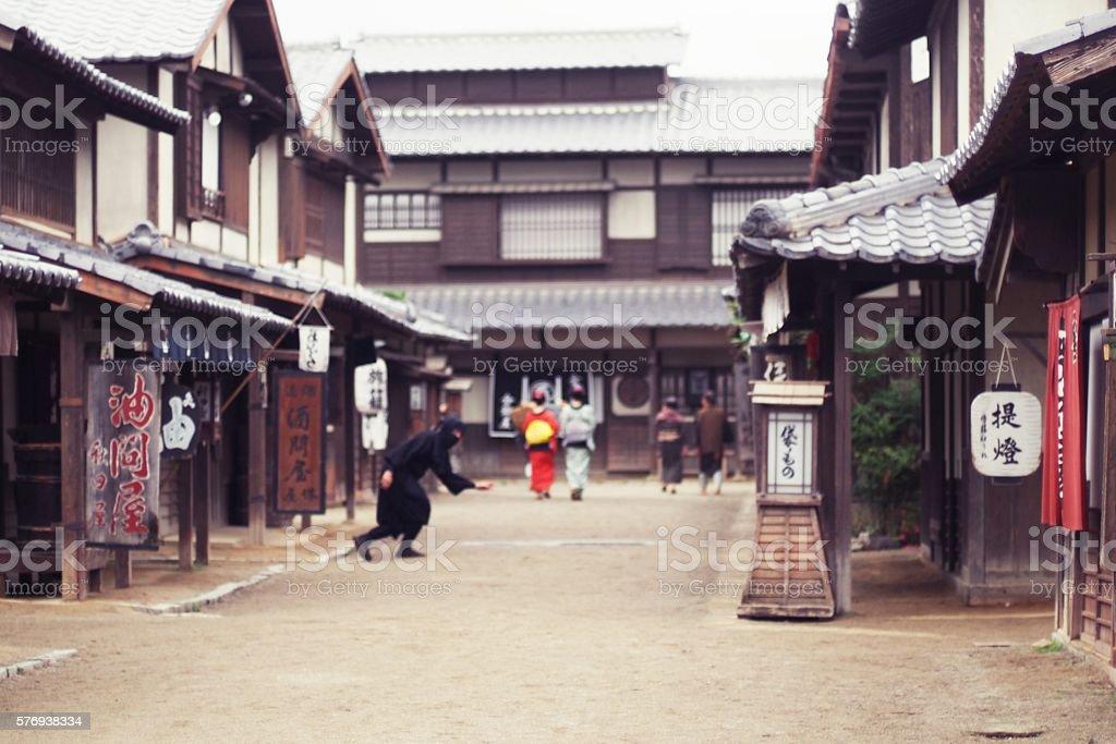 Japanese People  Walking on the Street and Ninja stock photo