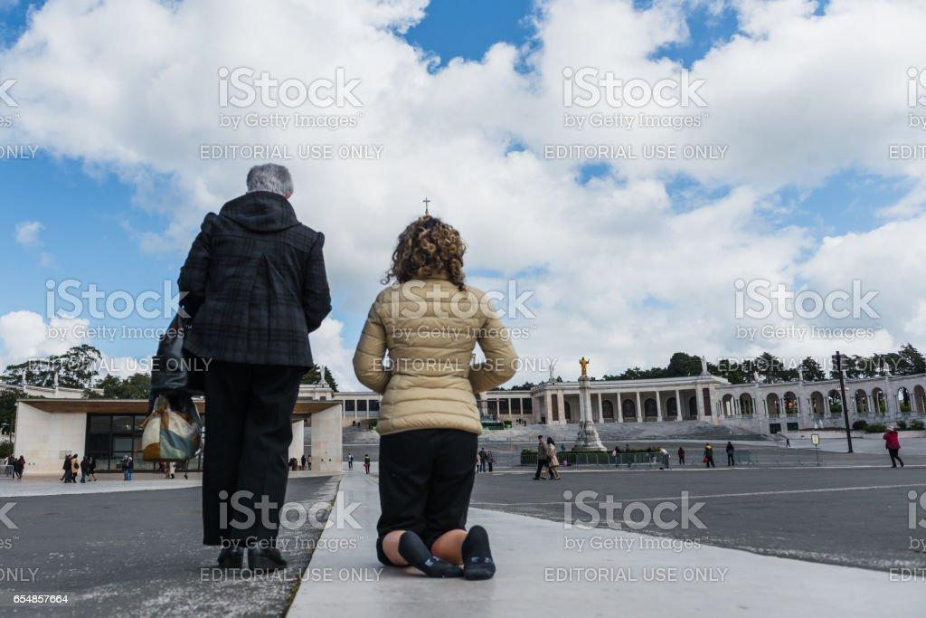 Japanese pilgrims, The Sanctuary of Fátima, Portugal stock photo