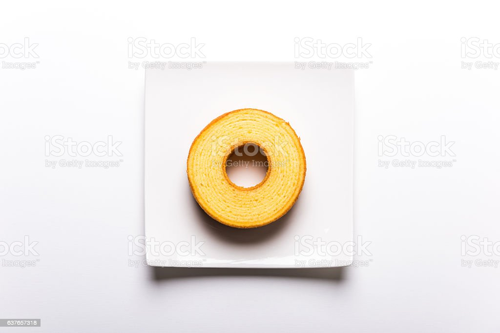 Japanese plain baumkuchen stock photo