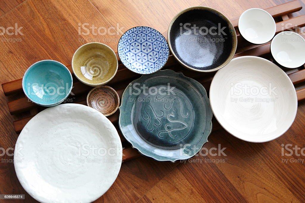 Japanese Pottery - Bowls & Plates stock photo