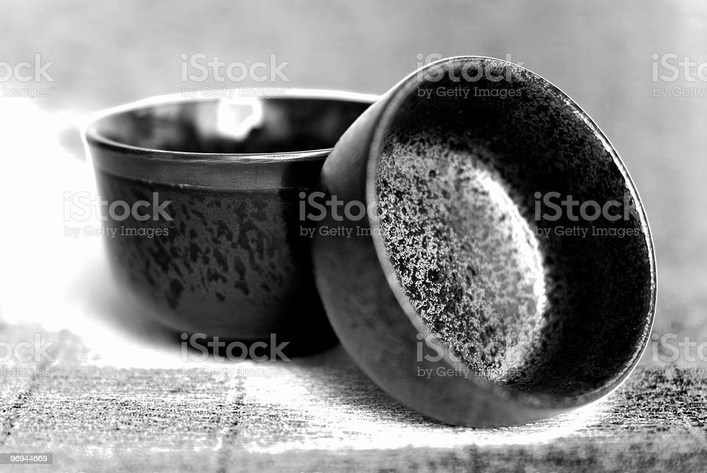 Japanese Pottery in Natural Light stock photo