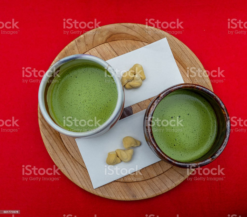Japanese powdered green tea stock photo