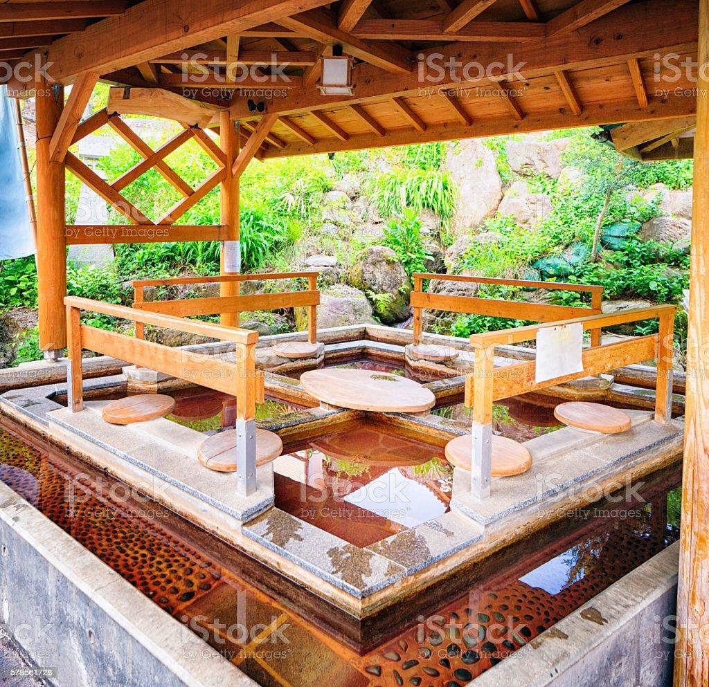 Japanese public foor bath at hot Springs Shibu Onsen stock photo