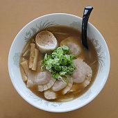 Japanese ramen top with pork, bamboo shoot and fish ball
