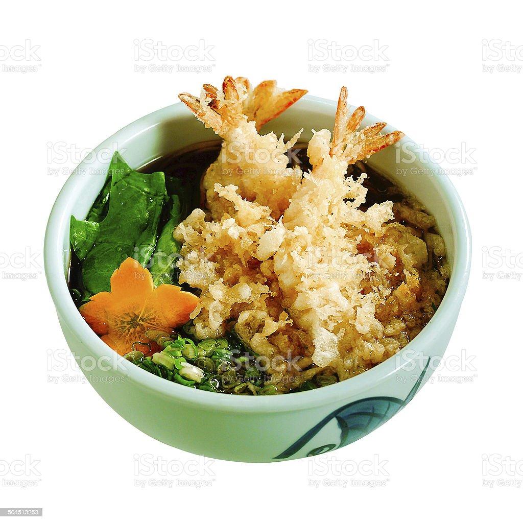 Japanese ramen with shrimps tempura isolated stock photo