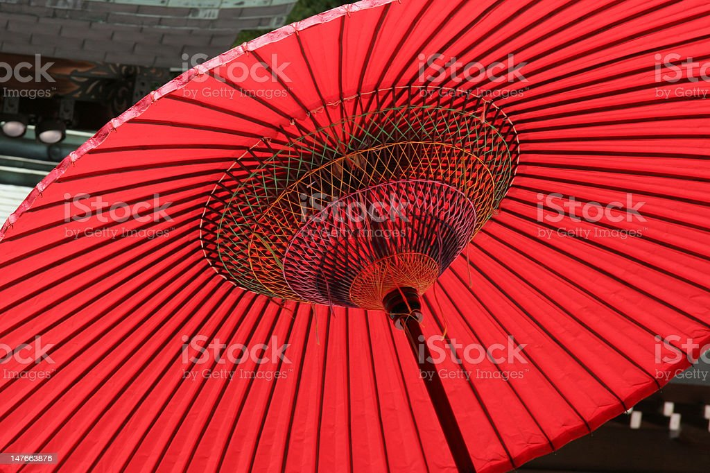 Japanese red umbrella royalty-free stock photo