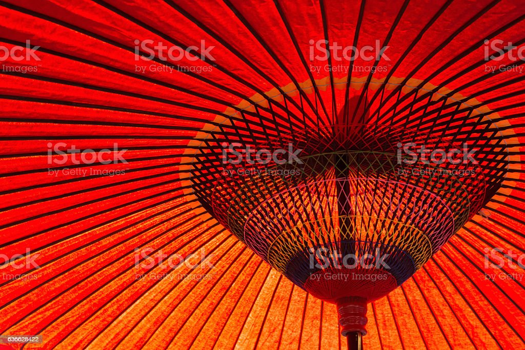 Japanese red umbrella stock photo