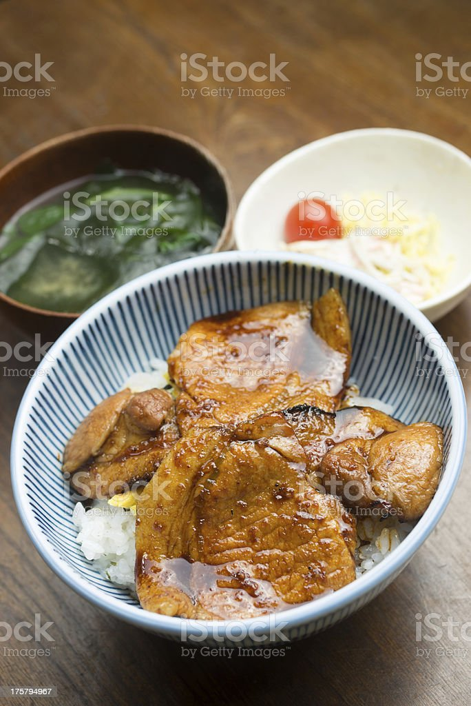 Japanese regional cuisine Obihiro Butadon (豚丼) royalty-free stock photo