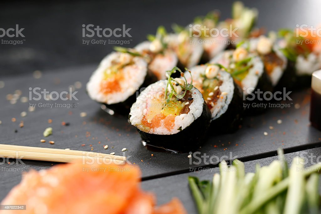 Japanese restaurant, sushi dish stock photo