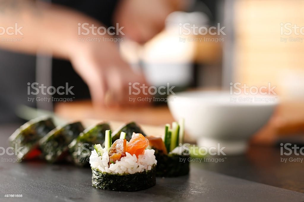 Japanese restaurant, sushi. stock photo
