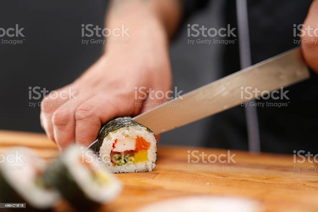 Japanese restaurant, sushi stock photo