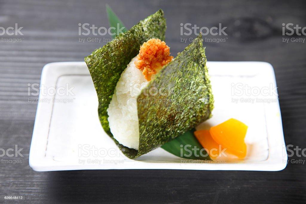 Japanese rice ball ONIGIRI stock photo