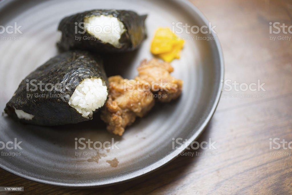 Japanese Rice Ball?ONIGIRI royalty-free stock photo
