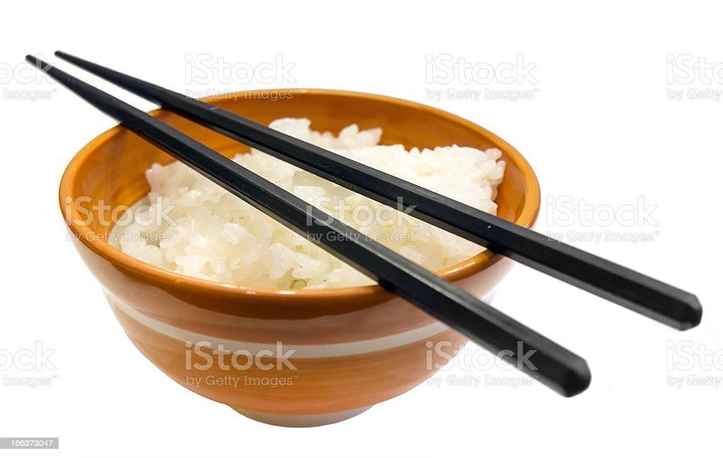 Japanese rice bowl and chopsticks isolated royalty-free stock photo