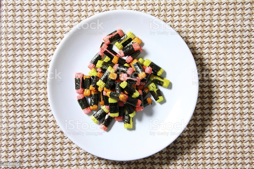 Japanese rice crackers stock photo