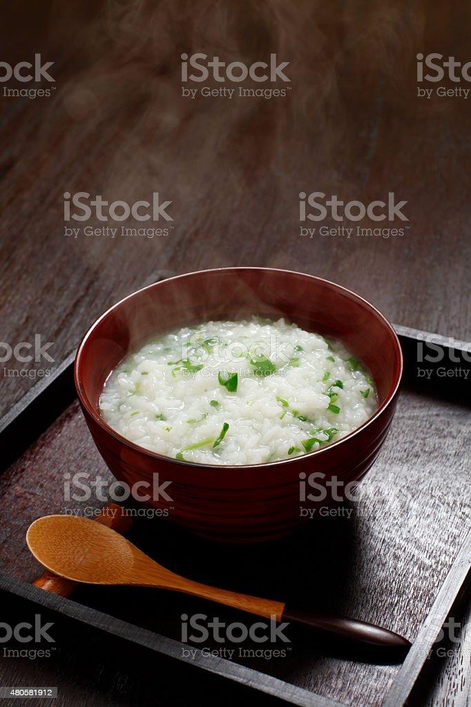 Japanese rice porridge stock photo