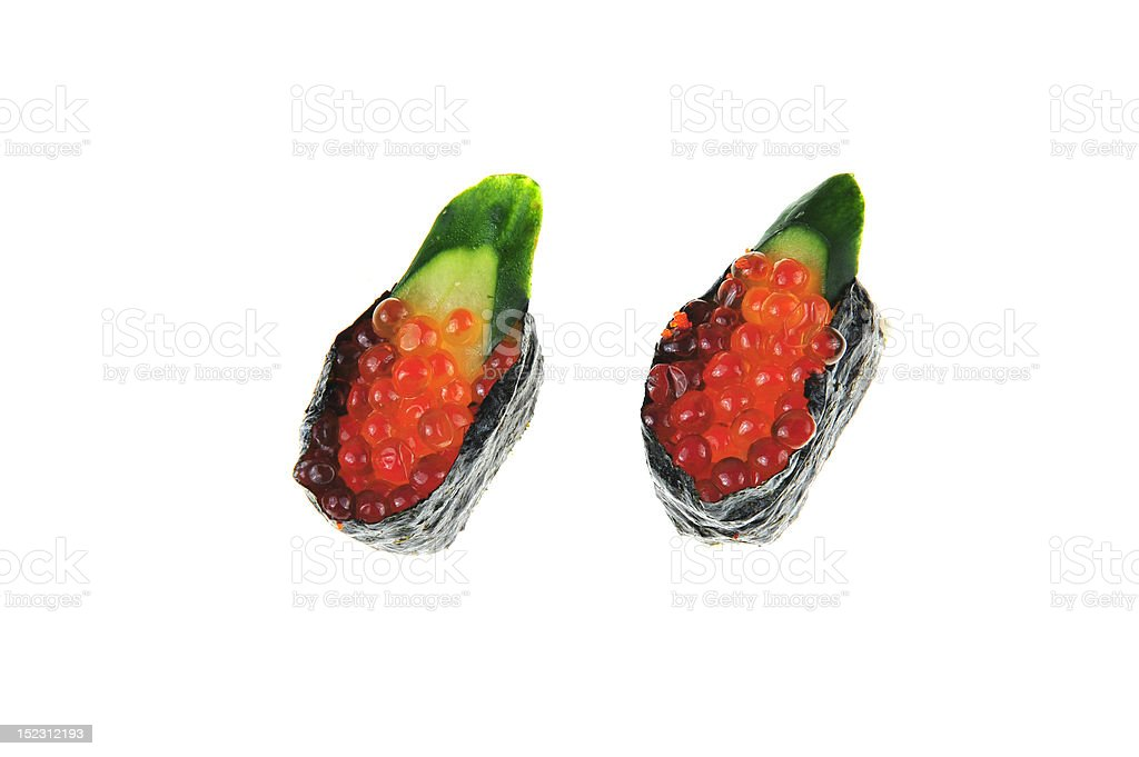 Japanese rice sushi fill with fish eggs and cucumber royalty-free stock photo