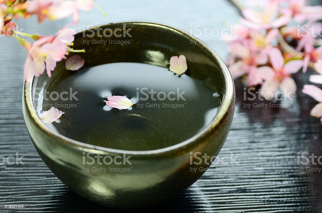 Japanese rice wine with cherry blossom stock photo