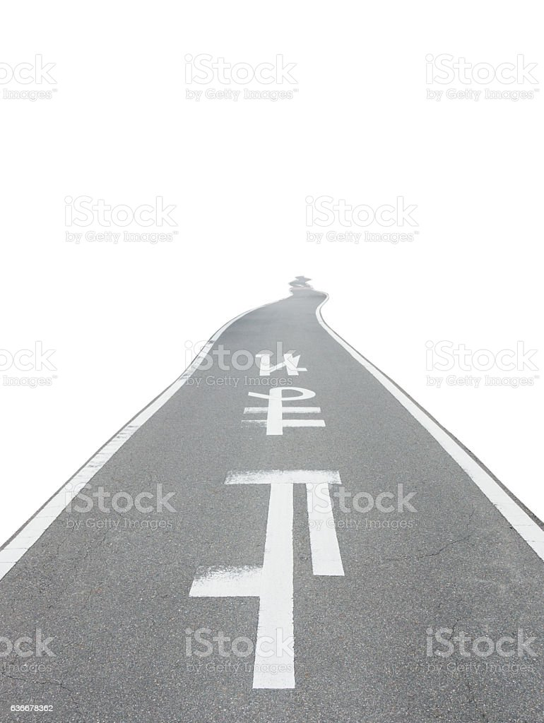 Japanese road with sign 'STOP' isolated on white. stock photo