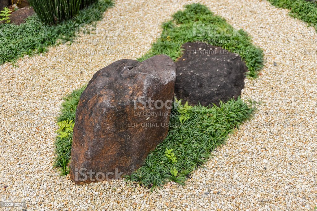 Japanese rock garden in the Hasedera temple in Kyoto, Japan stock photo