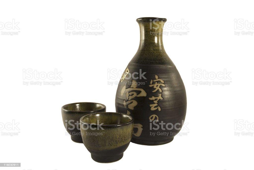 Japanese Sake drinking set stock photo