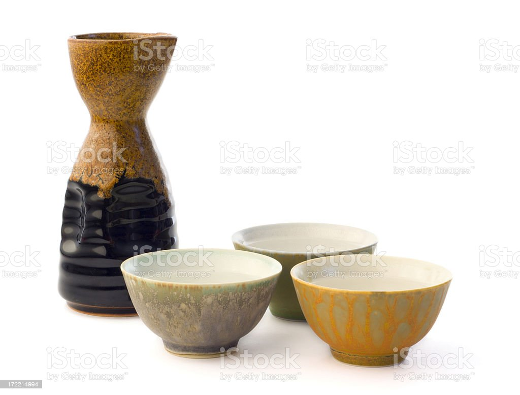 Japanese Saki Cups and Ceramic Bottle for Drinking Rice Wine stock photo