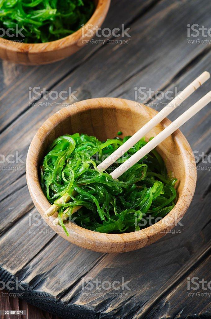 Japanese salad chuka on the wooden table stock photo