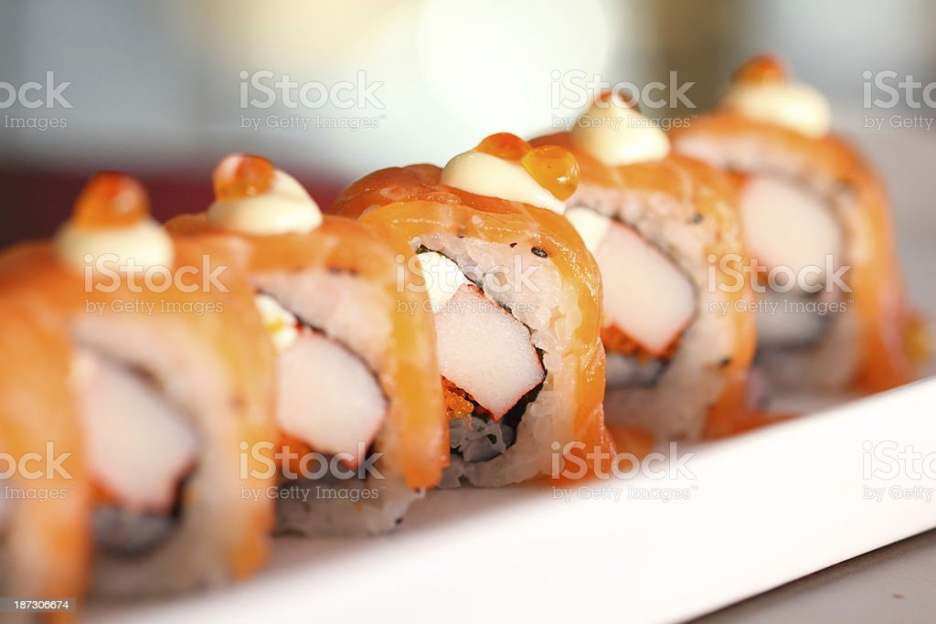 Japanese salmon roll stock photo