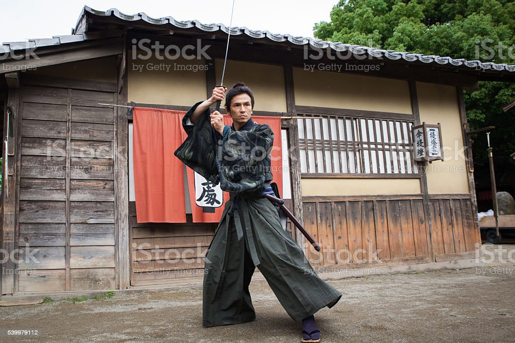 Japanese Samurai ready for battle stock photo