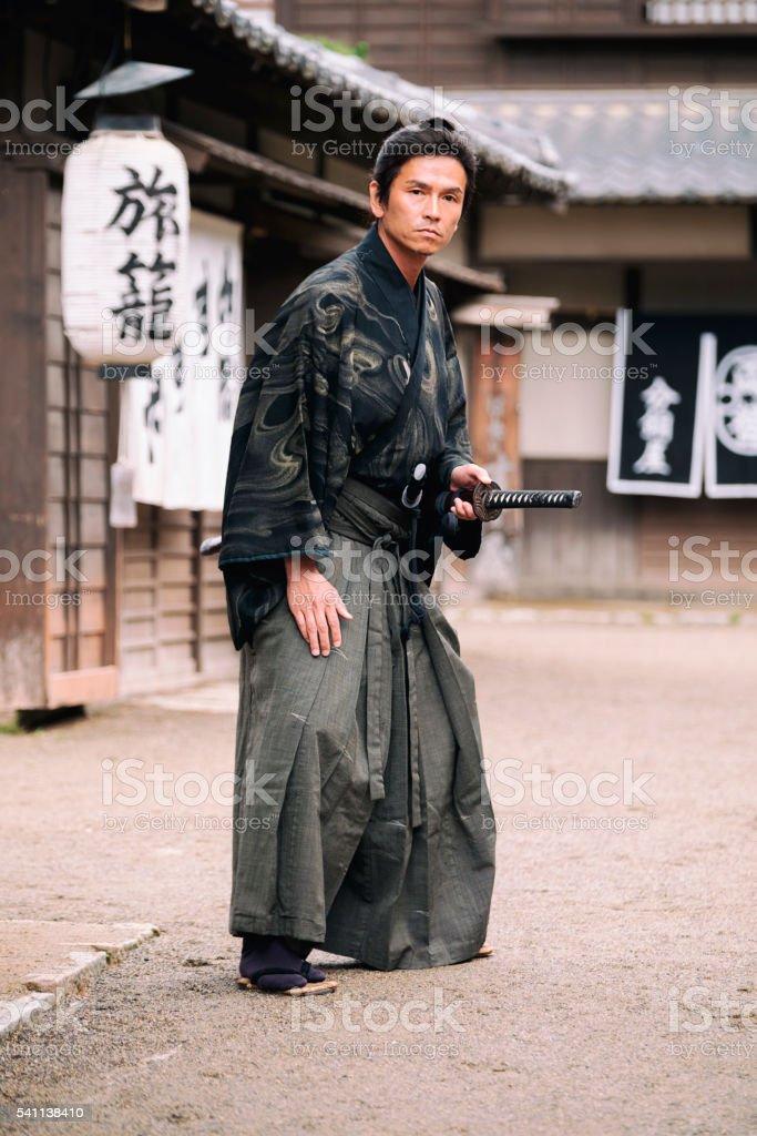 Japanese Samurai Ronin in Edo Period Town stock photo