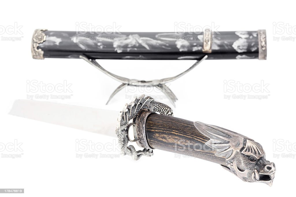 Japanese samurai sword (katana) and sheath isolated royalty-free stock photo