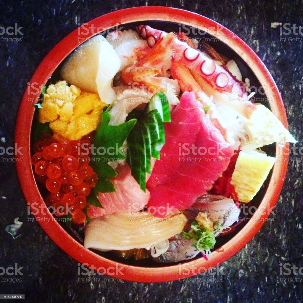 Japanese Sashimi Salad Bowl stock photo