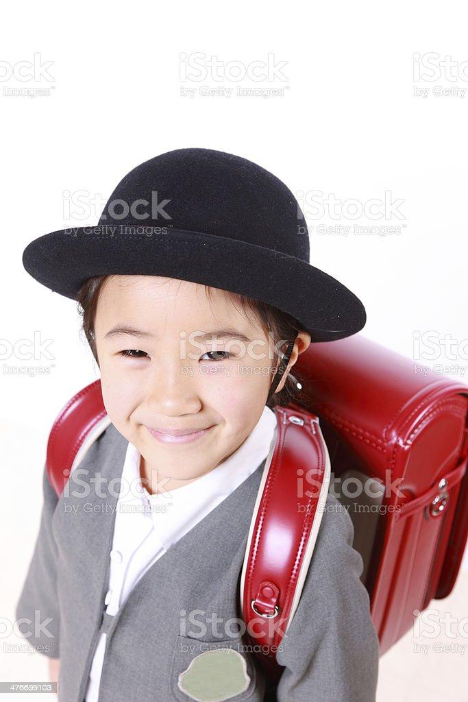 Japanese Schoolgirl With Red Satchel Smiles stock photo