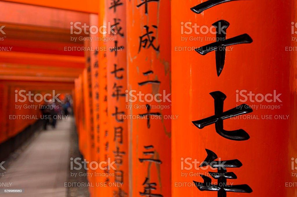 Japanese script on wooden gates stock photo