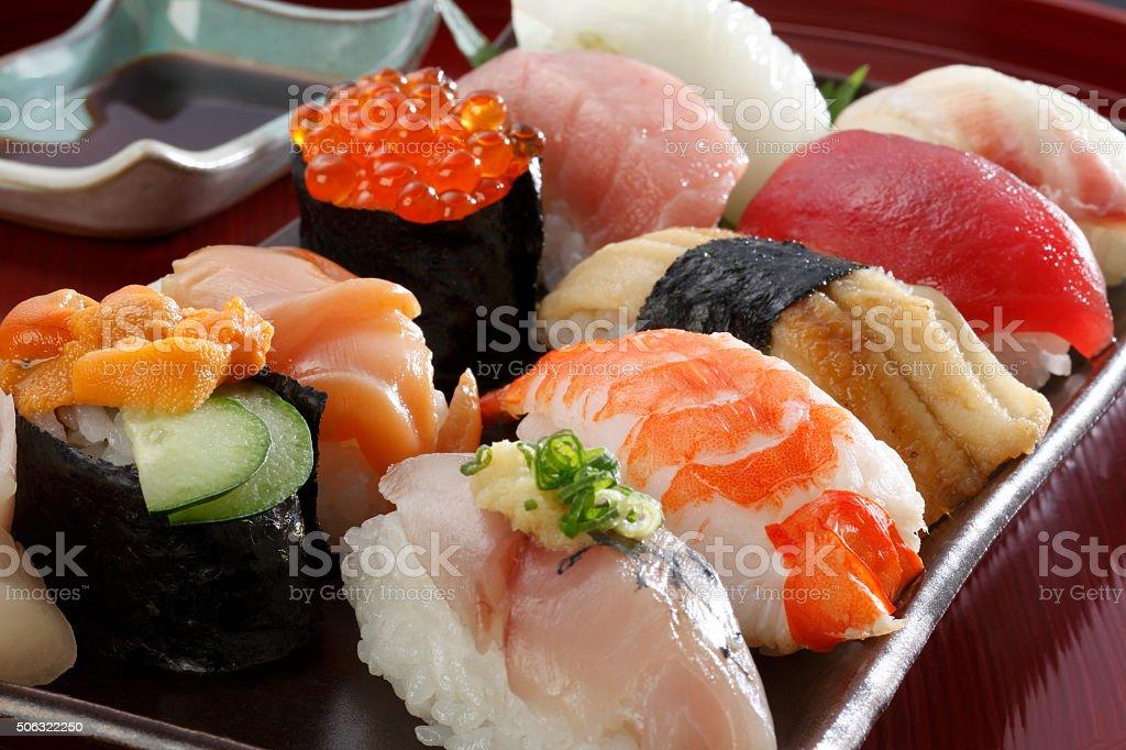 Japanese seafood sushi stock photo