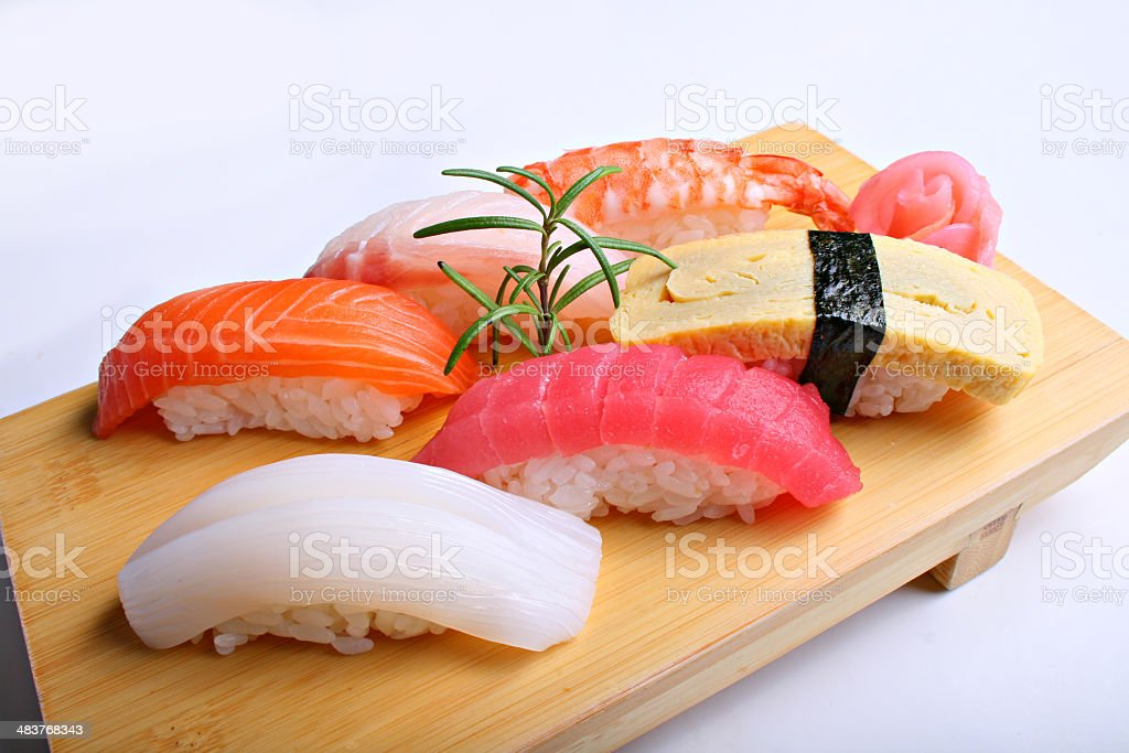 Japanese seafood sushi , roll and chopstick royalty-free stock photo