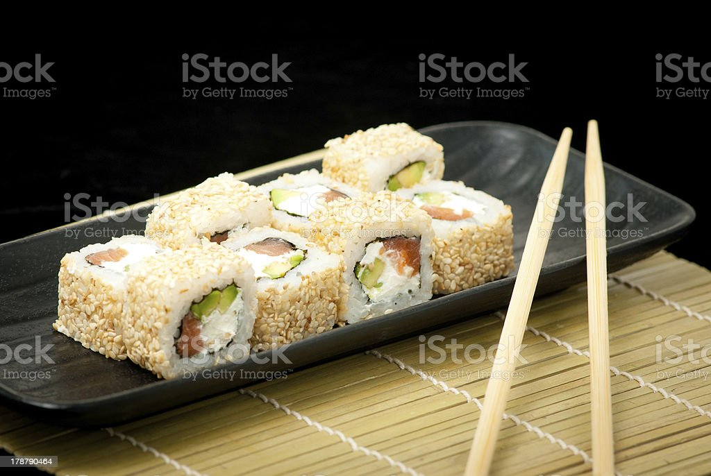 Japanese seafood sushi , roll set royalty-free stock photo