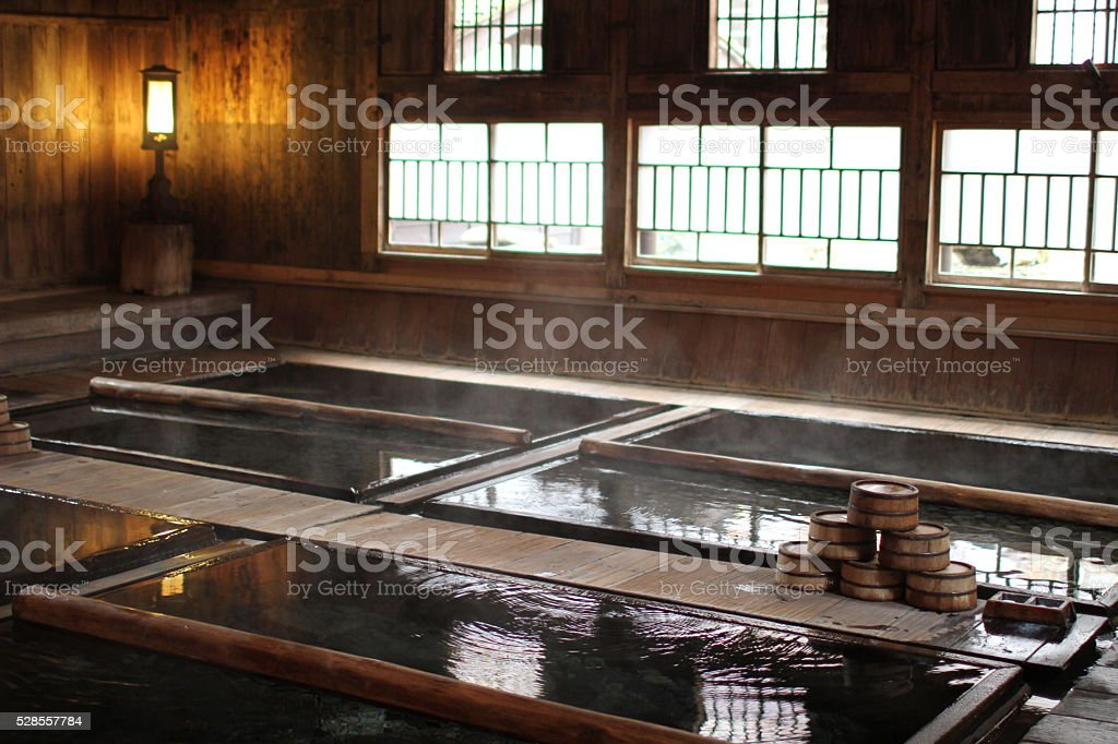 Japanese secluded hot spring spot stock photo