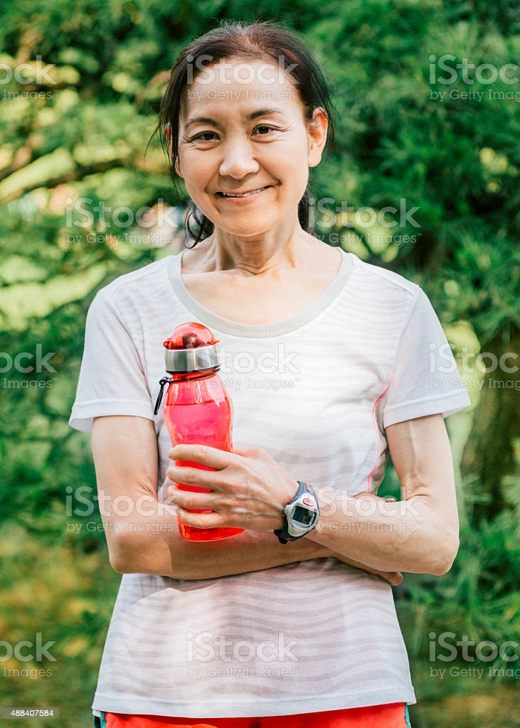 Japanese senior woman after working out stock photo